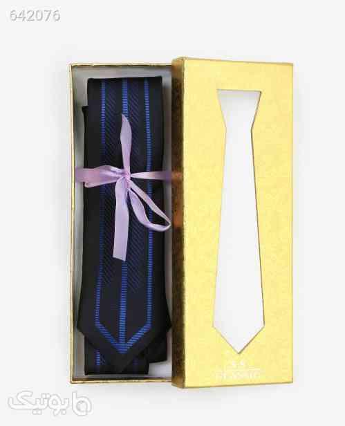کراوات طرح دار مردانه مدل 6718مشکی آبی مشکی 99 2020