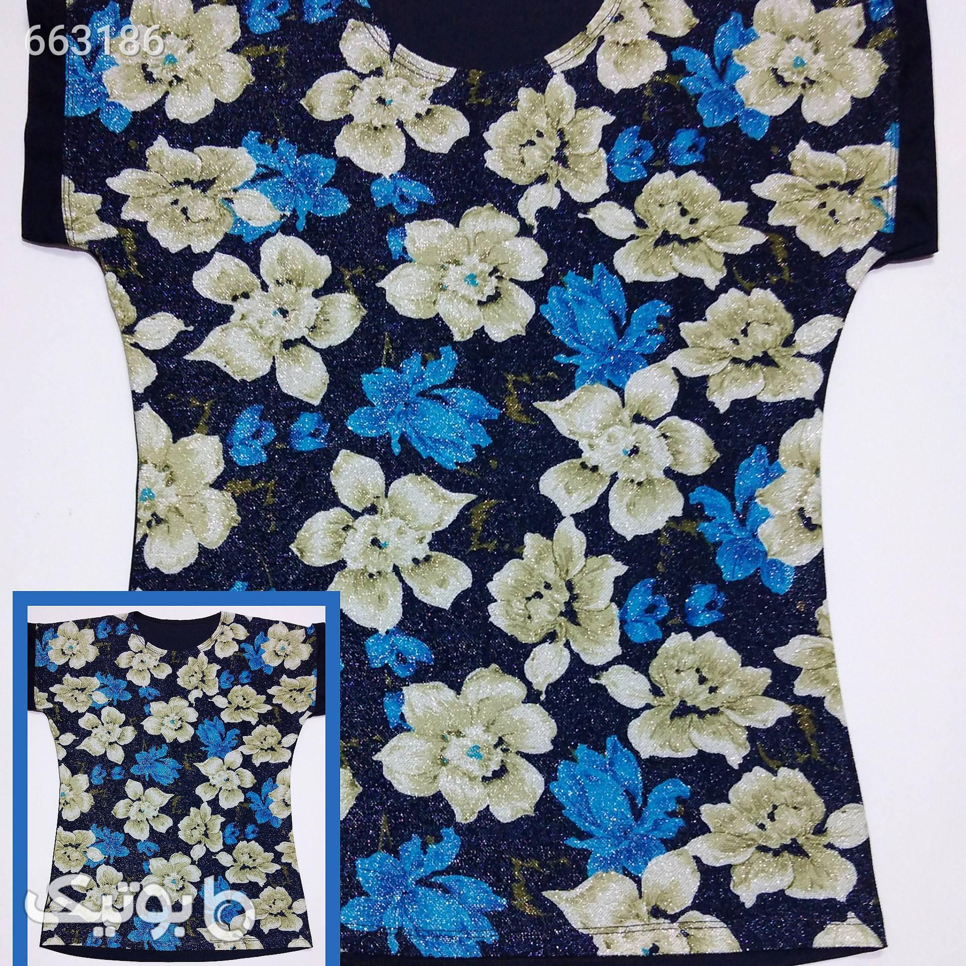 تیشرت گلدار زنانه لمه آبی تی شرت زنانه