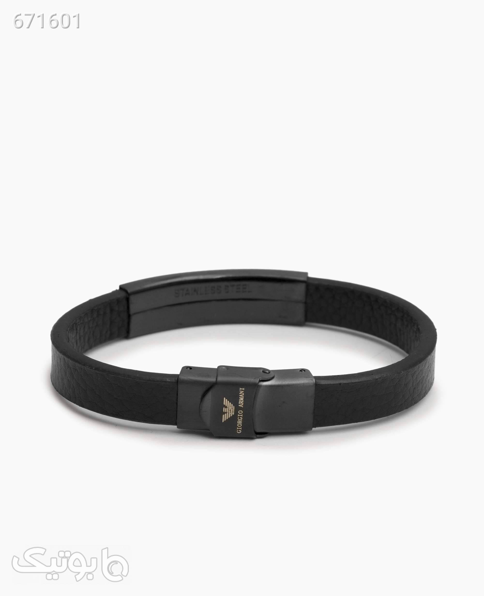دستبند چرم مردانه Armani مدل 6870Black مشکی دستبند و پابند
