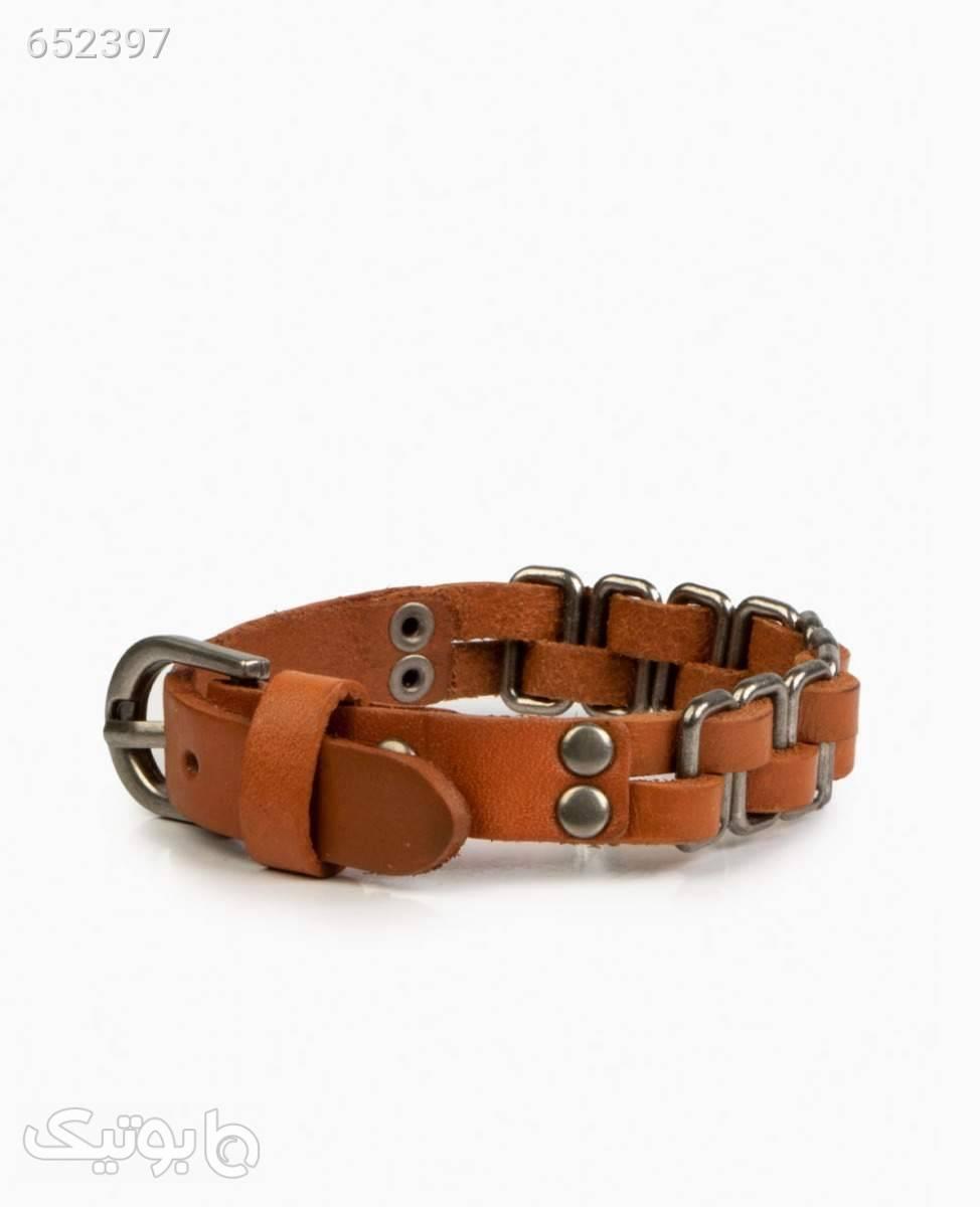 دستبند چرم و استیل کد 2220LightBrown قهوه ای دستبند و پابند