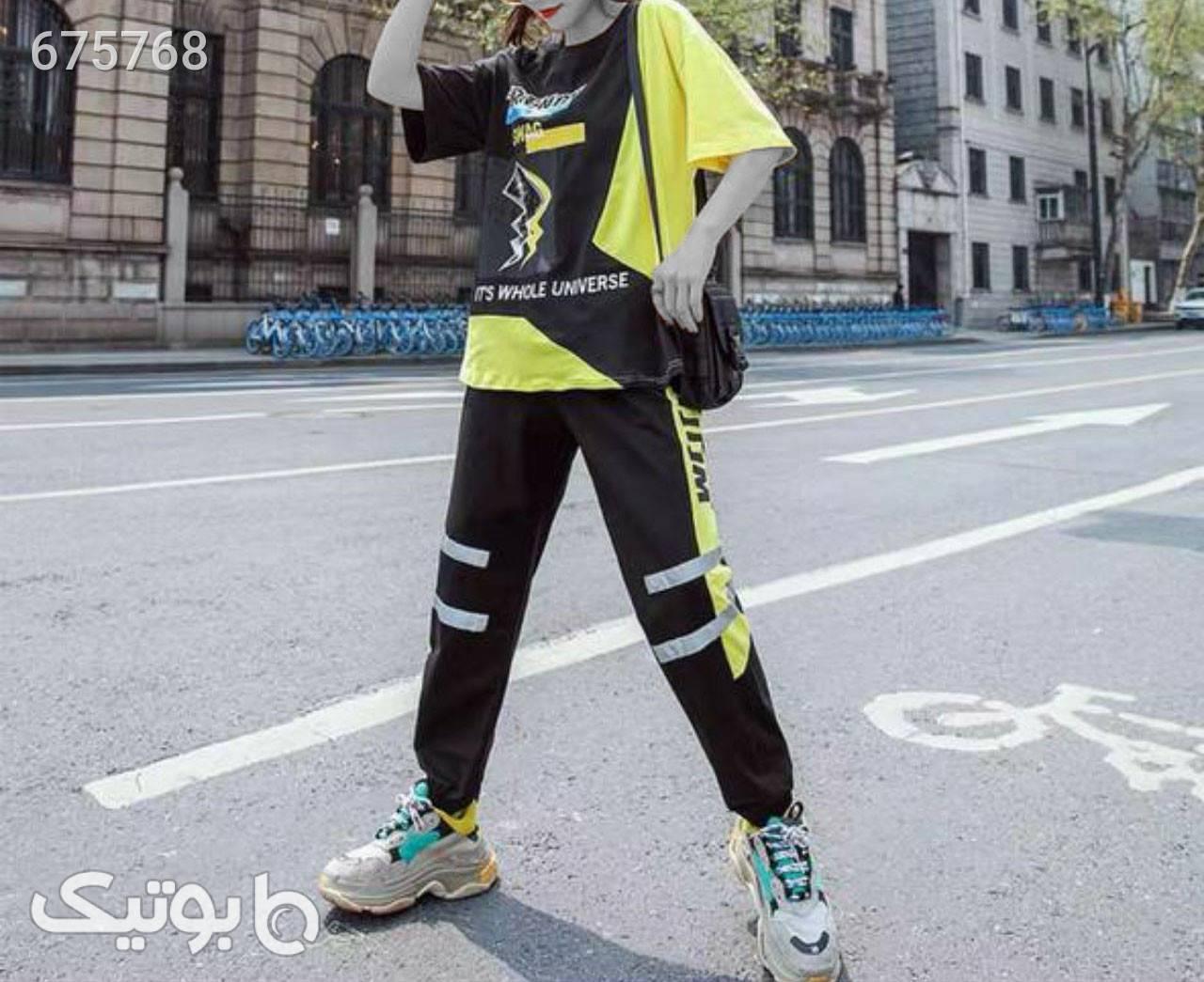 ست دوتیکه وارداتی زرد ست ورزشی زنانه