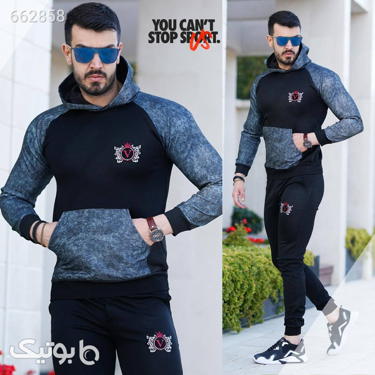ست سویشرت و شلوار مردانه ارتشی Behdad مشکی ست ورزشی مردانه