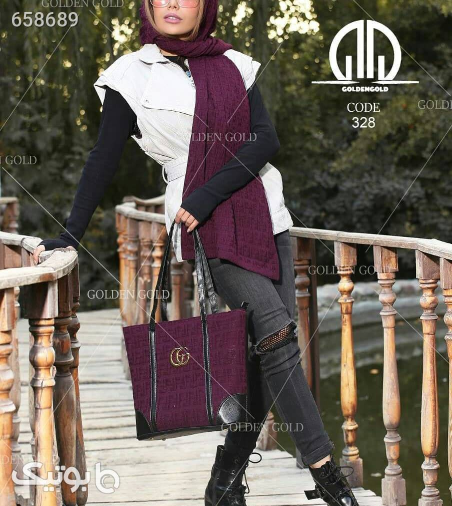 ست کیف و شال بافتنی طوسی ست کیف و کفش زنانه