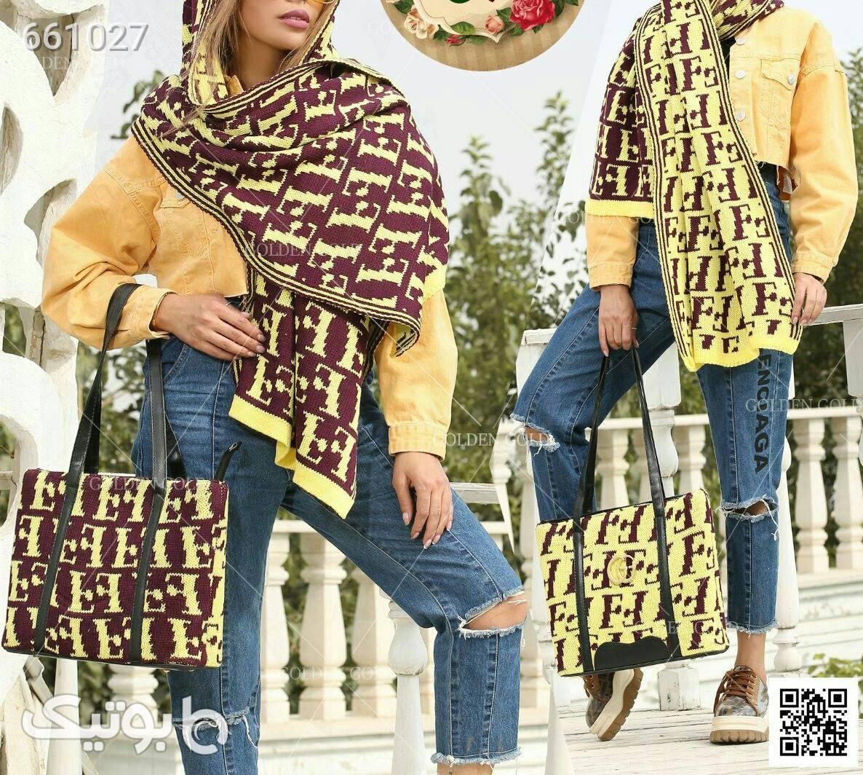 ست کیف و روسری زرد شال و روسری