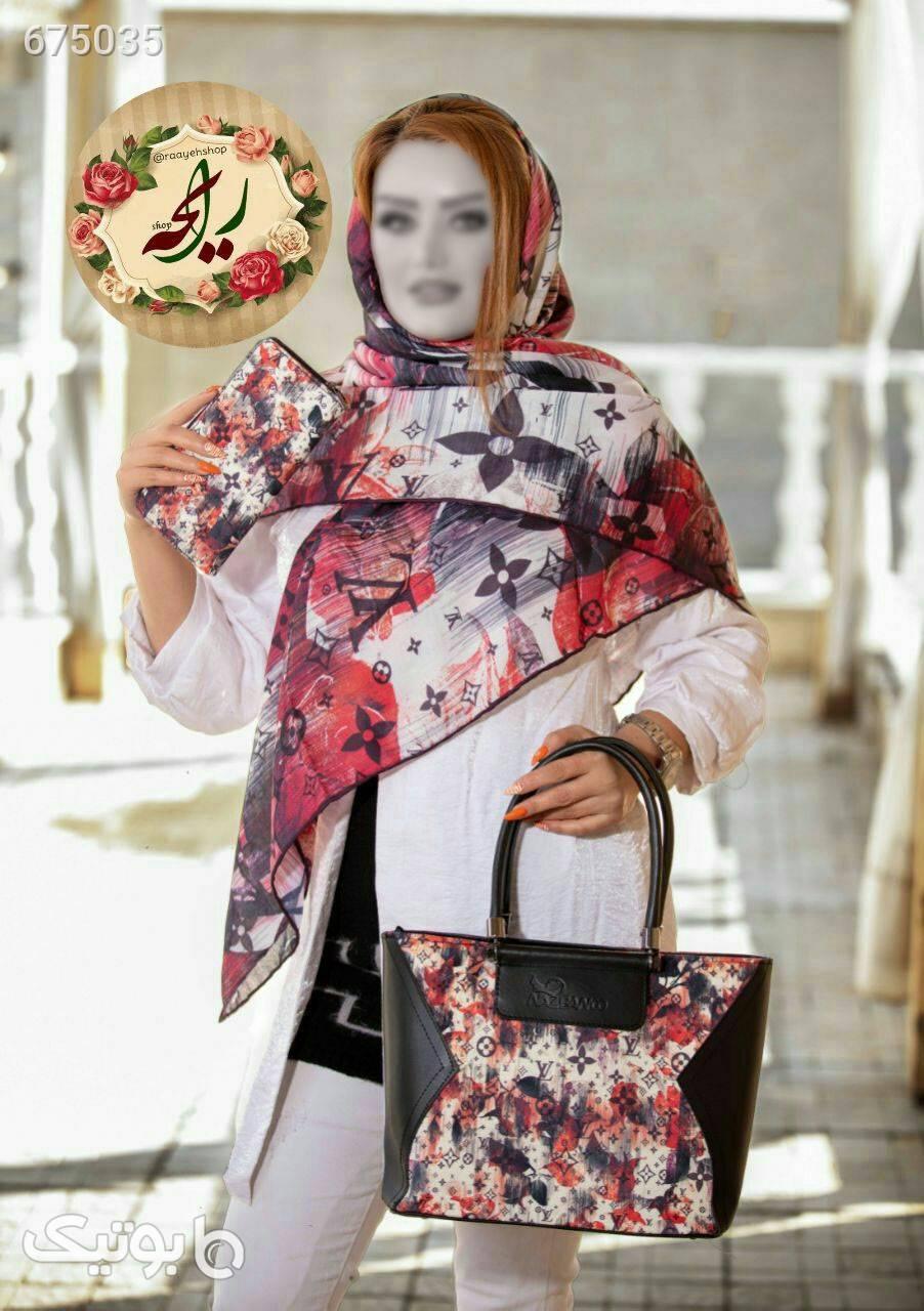 ست کیف و روسری قرمز شال و روسری