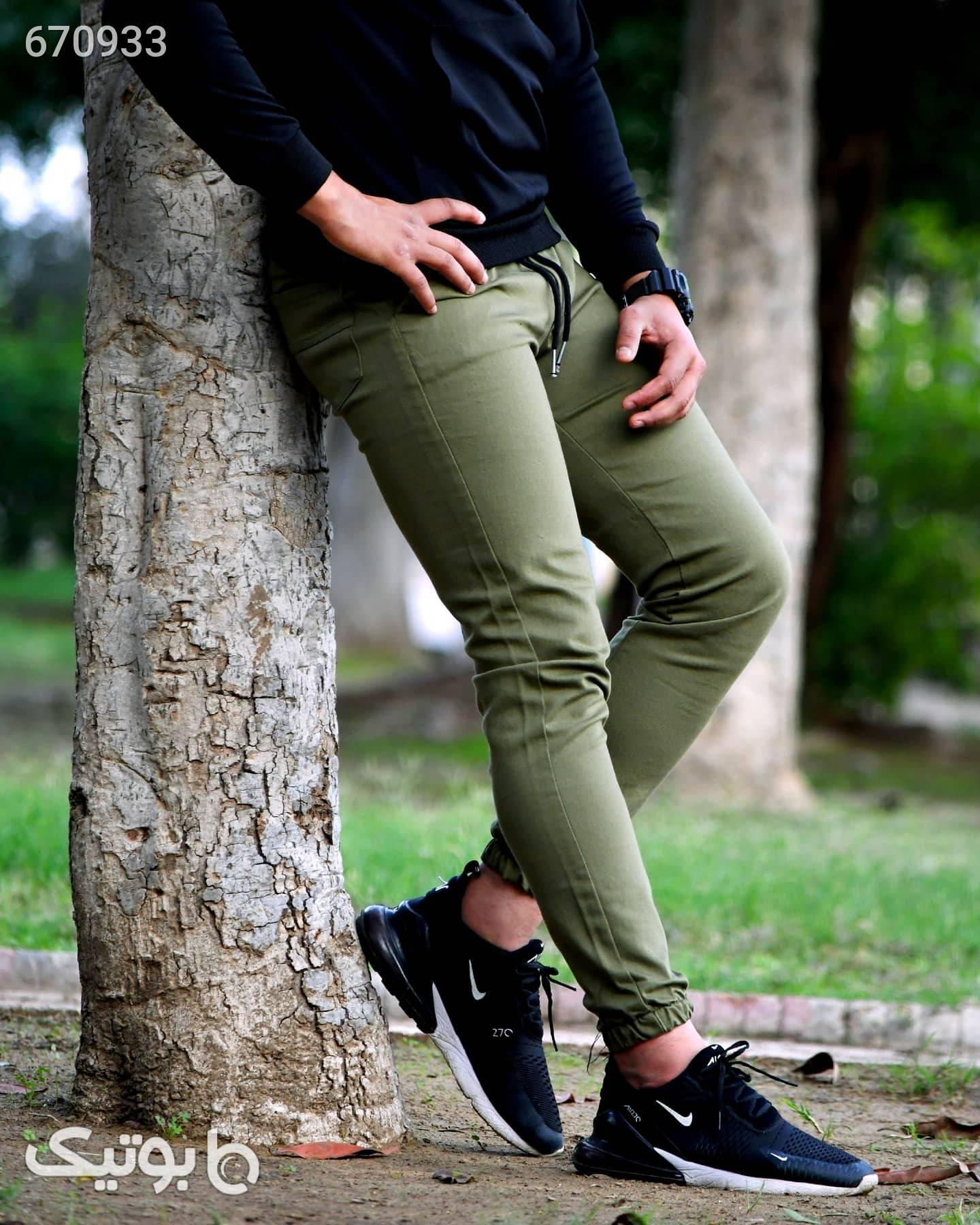 شلوار اسلش کتان دمپاکش سبز شلوار اسلش مردانه