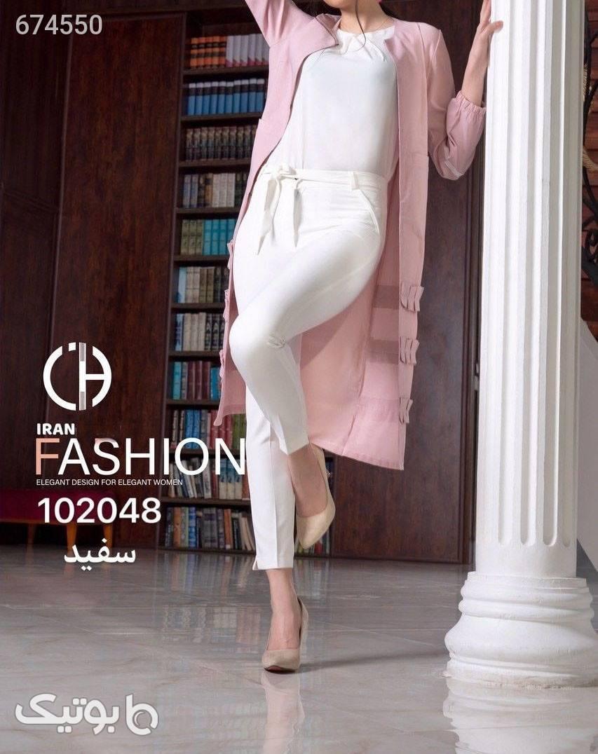 شلوار کرپ مازراتی  سفید شلوار پارچه ای و کتانی زنانه