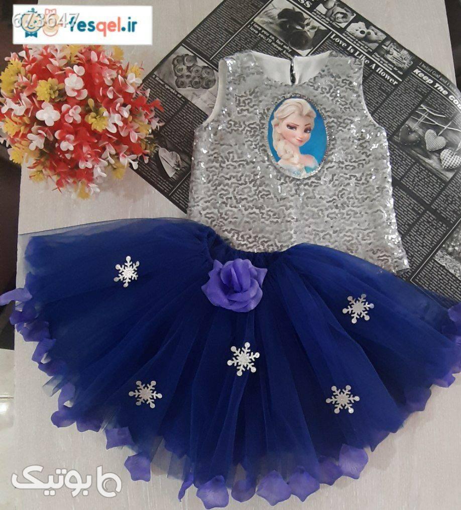 ست تاپ و دامن السا پولکی  فیروزه ای لباس کودک دخترانه