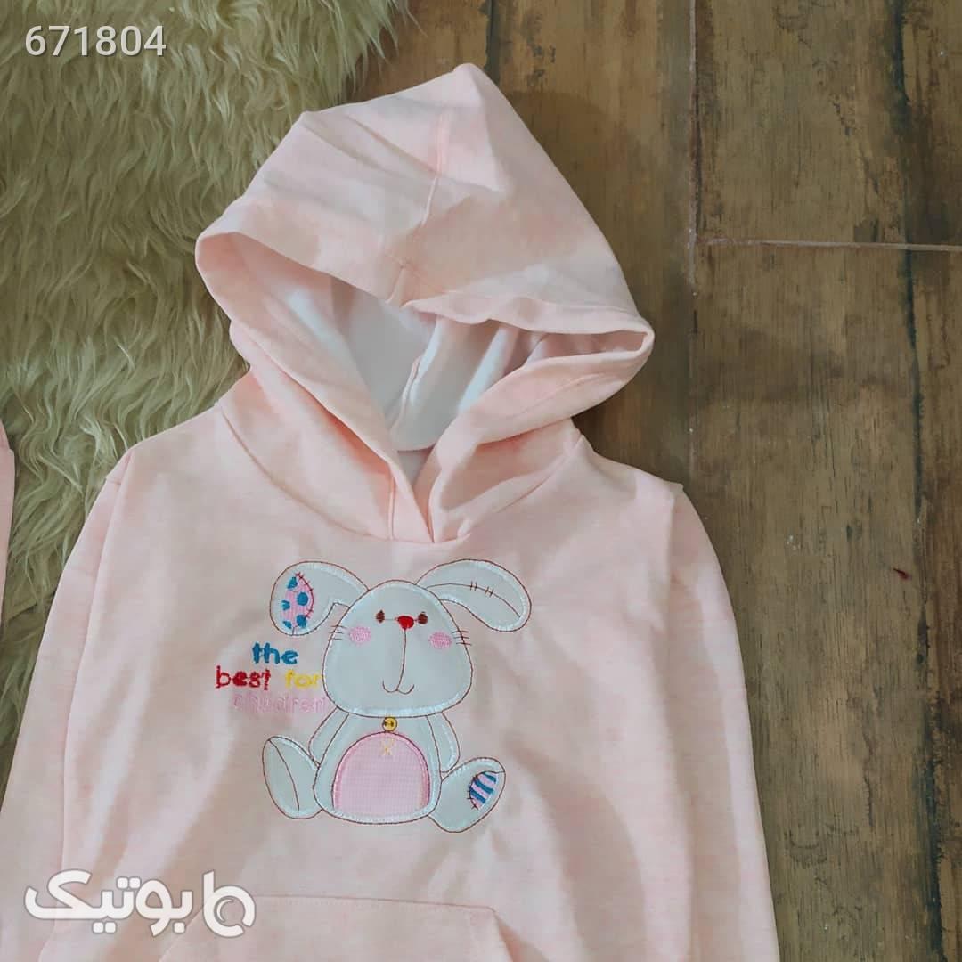 هودی تک دخترانه مدل خرگوش  صورتی لباس کودک دخترانه