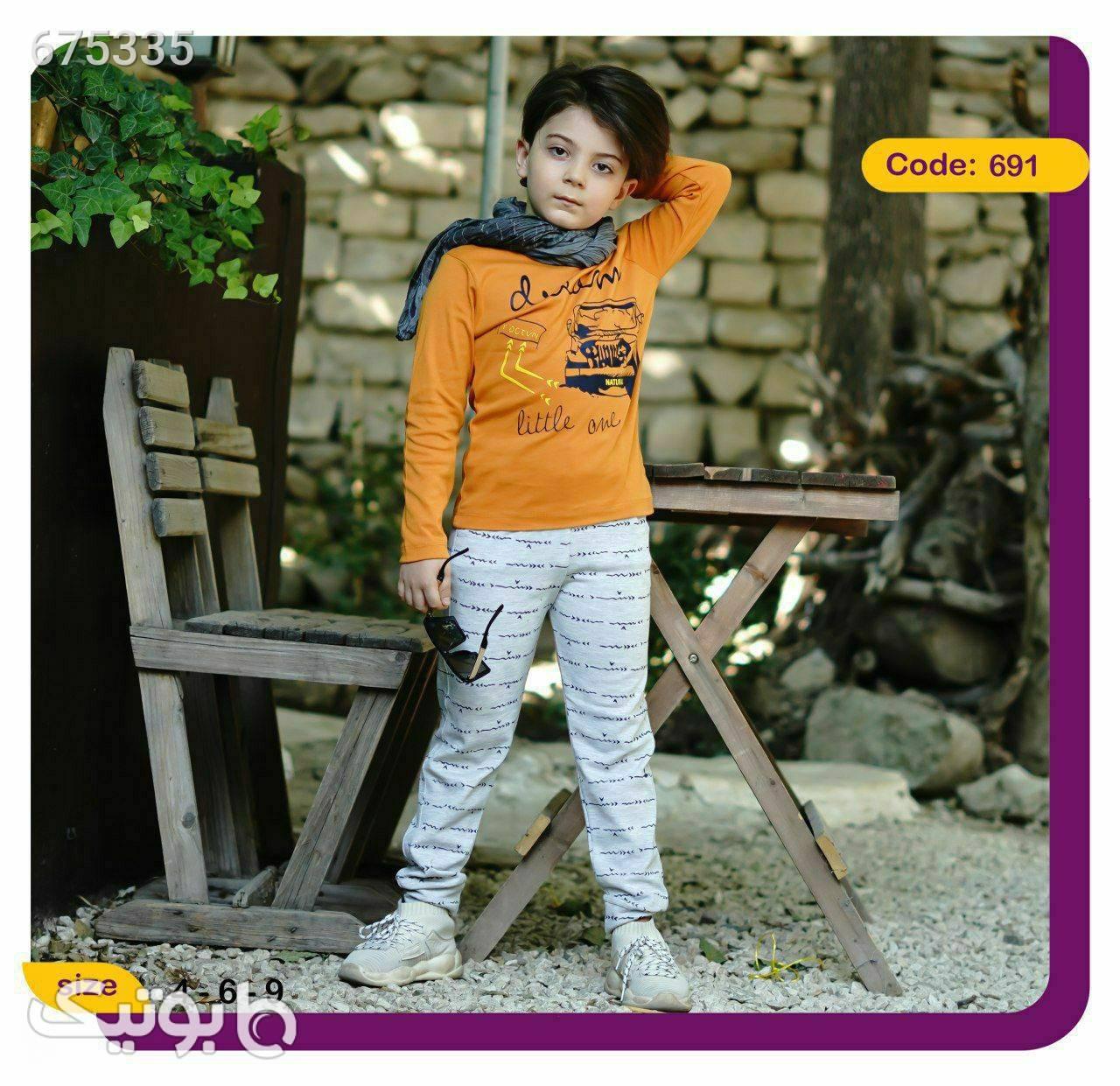 بلوز و شلوار پسرانه ماشین نارنجی لباس کودک پسرانه