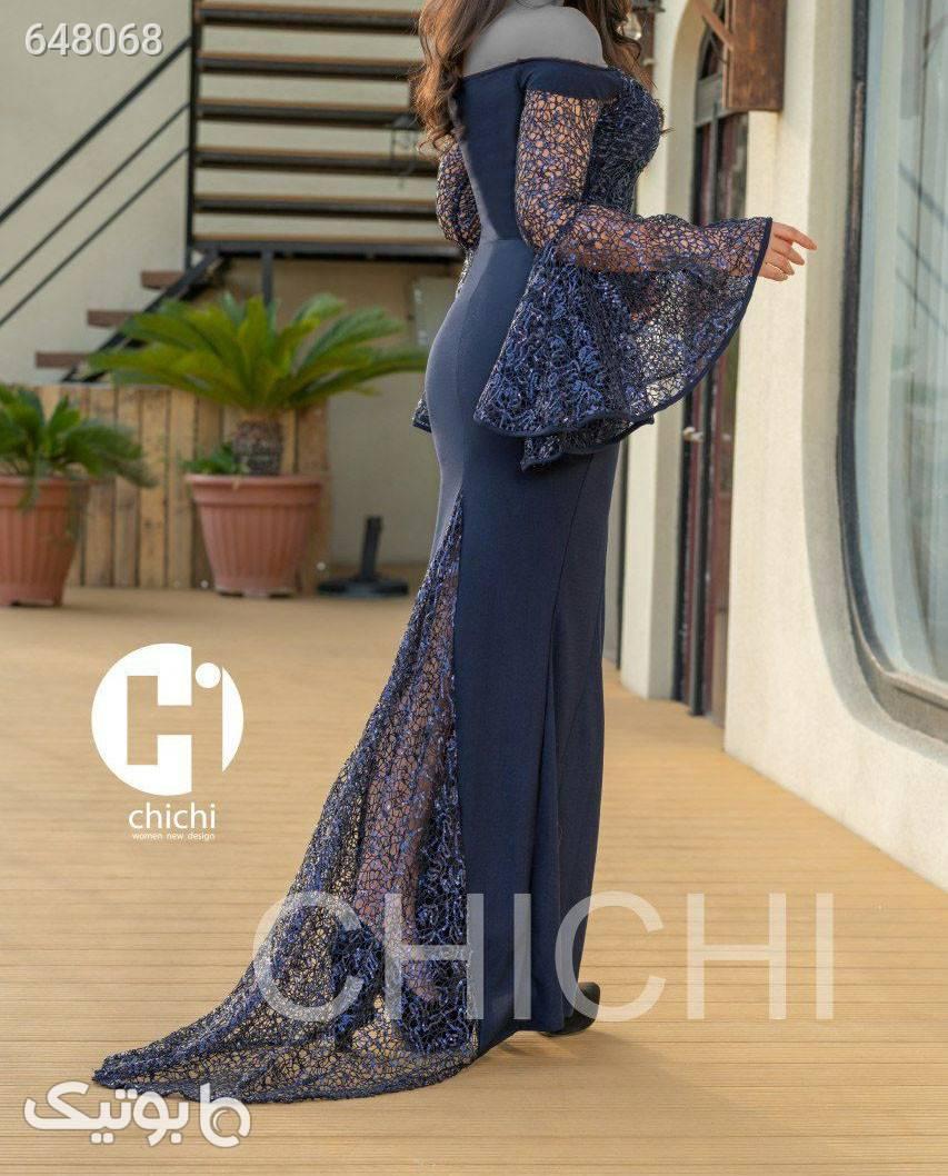 لباس بلند مجلسی سورمه ای لباس  مجلسی