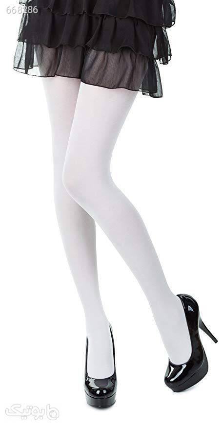 جوراب شلواری  سفید لگ و ساپورت