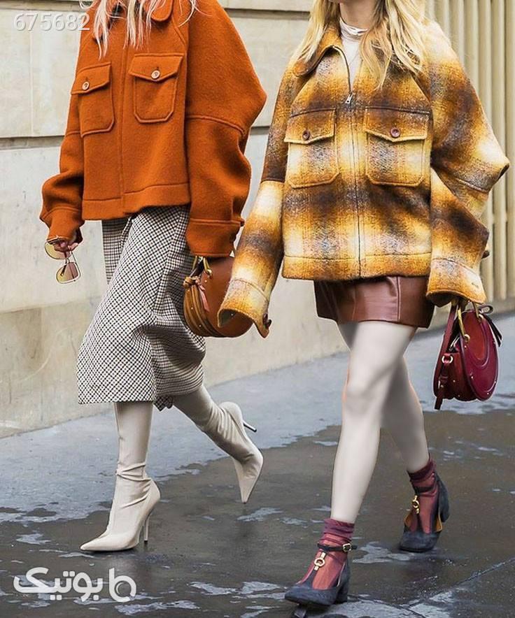 کت پیراهنی زمستانی سفید پالتو زنانه