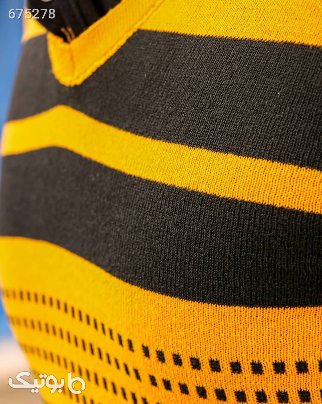 بافت مردانه یقه هفت طرح دار نارنجی پليور و ژاکت مردانه