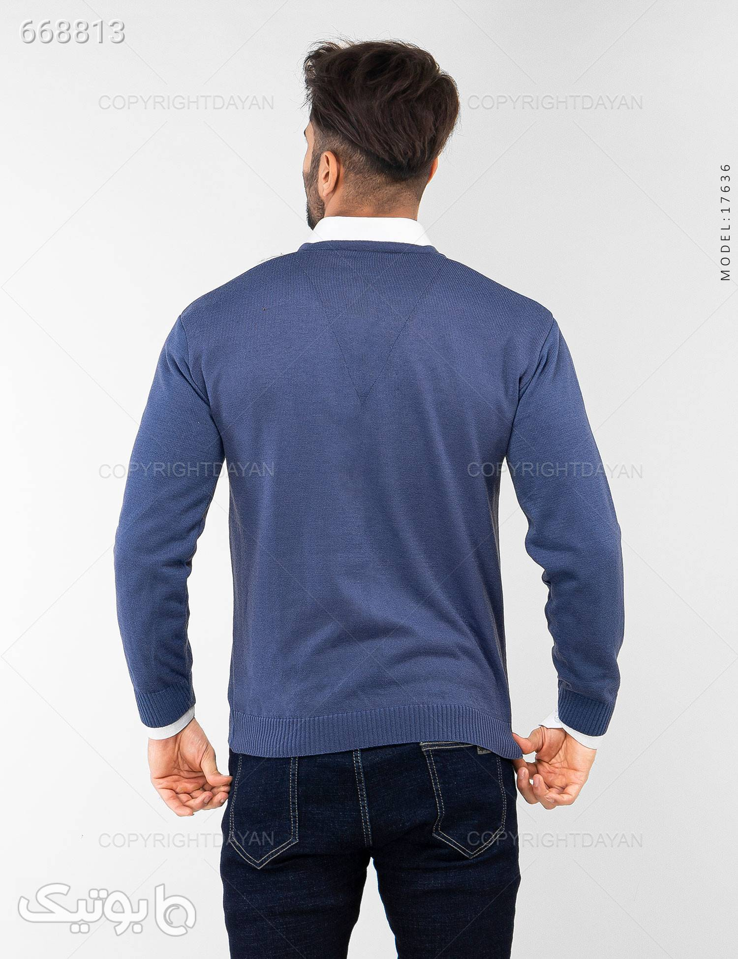 بافت مردانه Enzo مدل 17636 آبی پليور و ژاکت مردانه