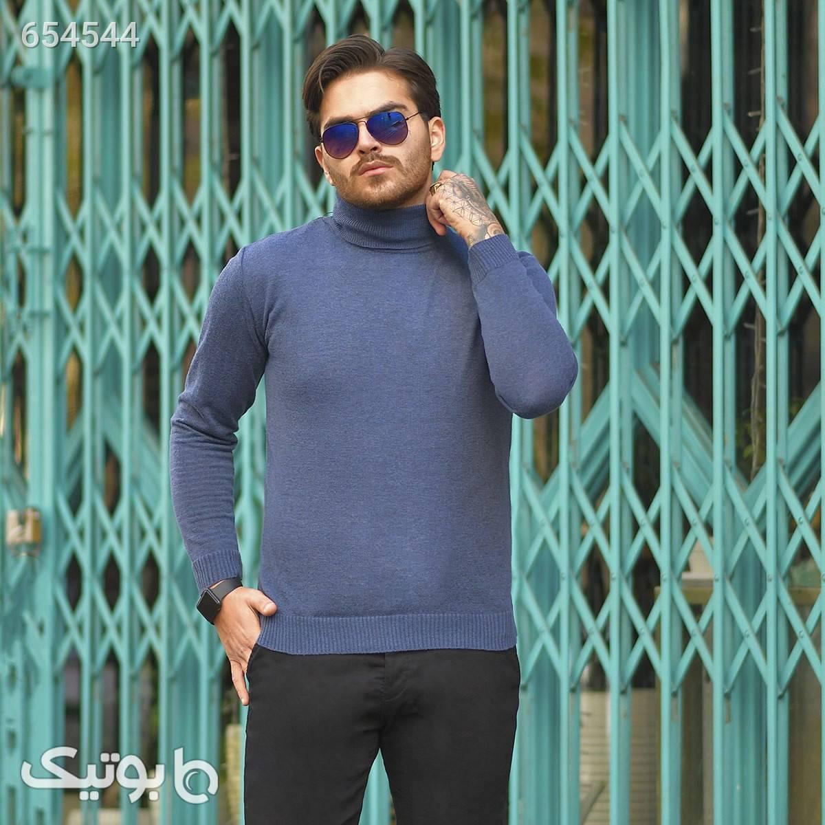 پليوربافت مردانه يقه اسكي مدل Tosan سورمه ای پليور و ژاکت مردانه