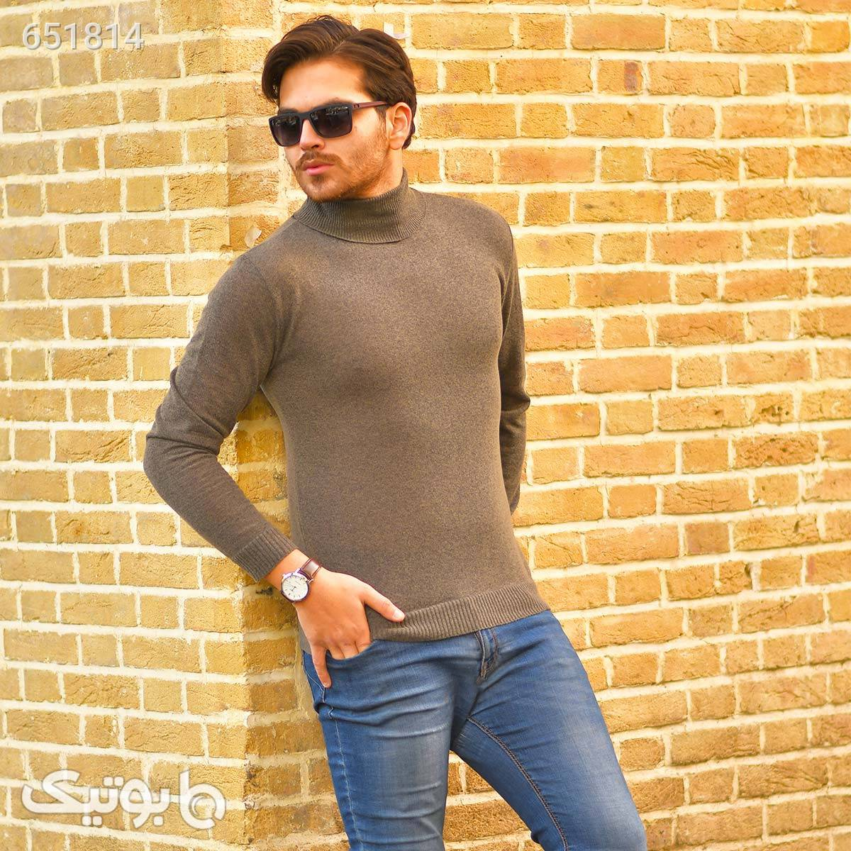 پليور بافت يقه اسكي مردانه مدل Ersan  طلایی پليور و ژاکت مردانه