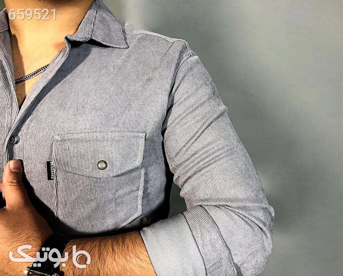 پیراهن مخمل کبریتی نقره ای پيراهن مردانه