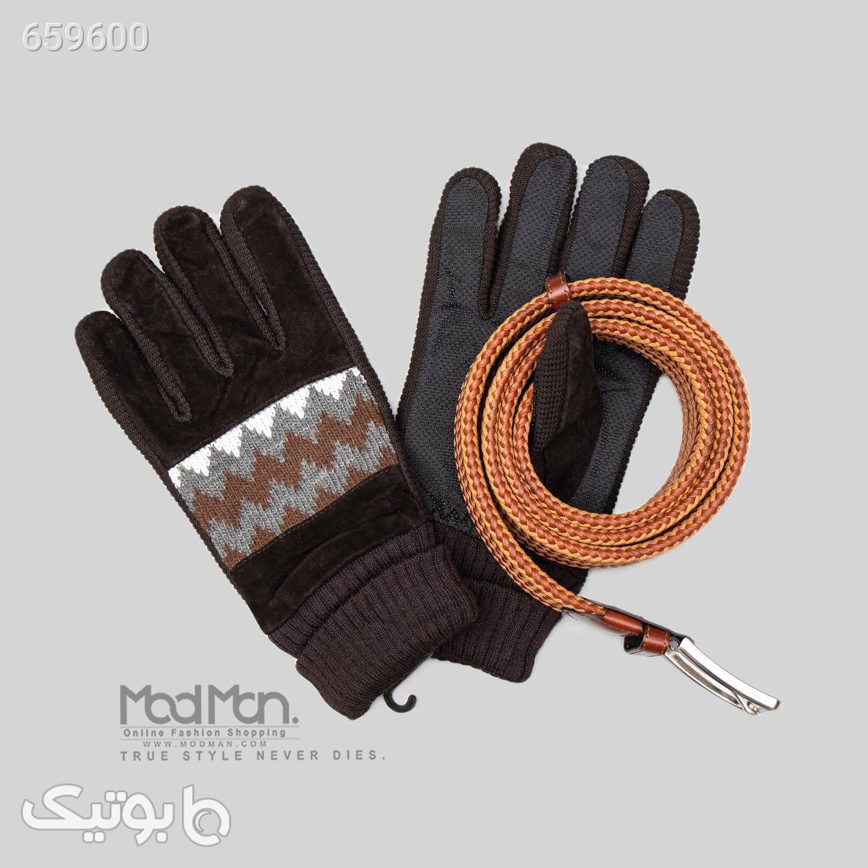 دستکش چرم مردانه کد 6320  مشکی کلاه بافت و شال گردن و دستکش