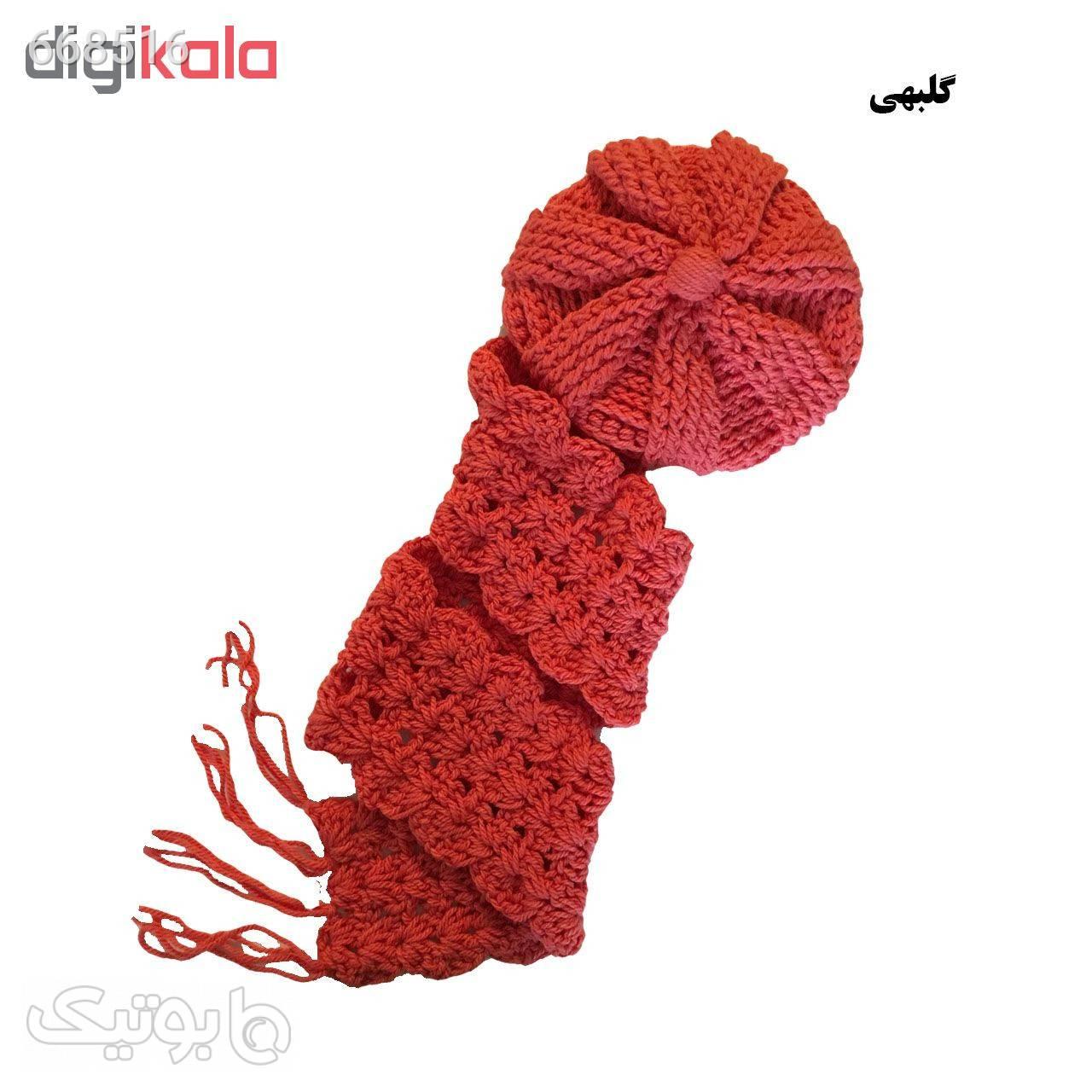 ست کلاه و شال گردن بافتنی مدل 00122 مشکی کلاه و اسکارف