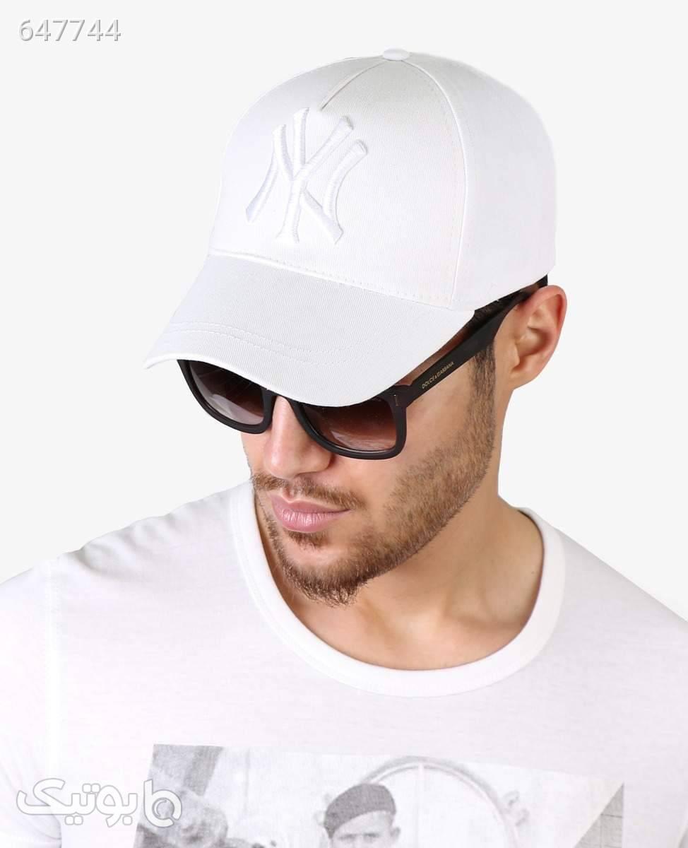 کلاه لبه گرد NY کد 4528White سفید کلاه و اسکارف