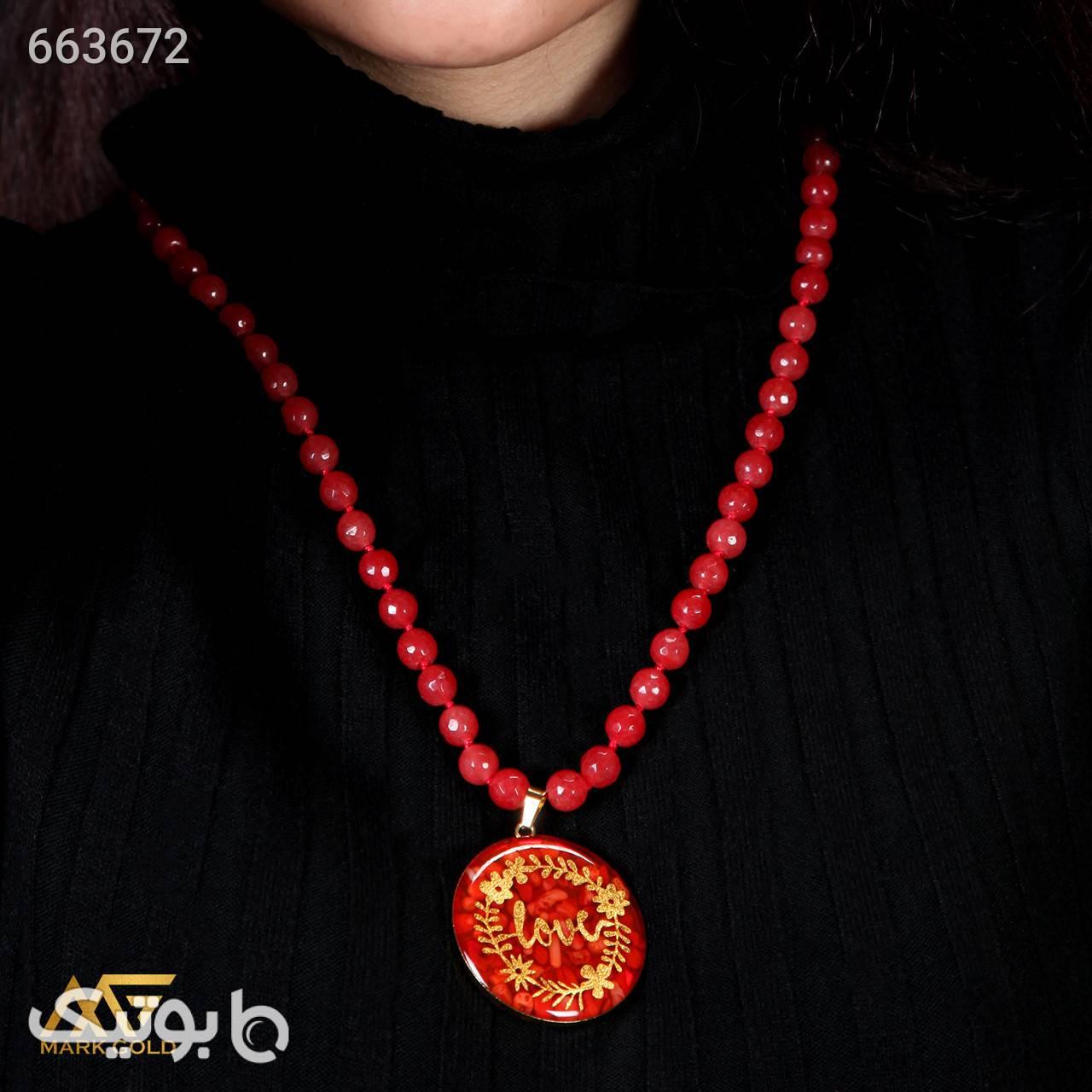 GN3051 گردنبند روکش طلا طرح Love قرمز گردنبند