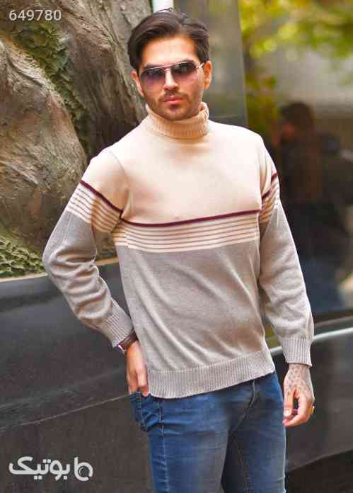 پليور بافت مردانه يقه اسكي مدل Porya کرم 99 2020