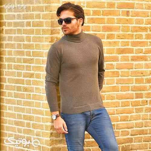 پليور بافت يقه اسكي مردانه مدل Ersan رنگ خاكي 99 2020