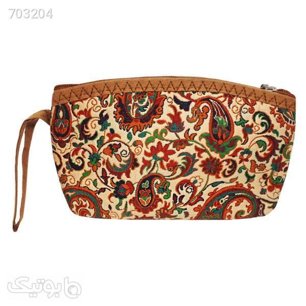 کیف لوازم آرایش زنانه طرح ترمه کد 110785 قهوه ای ابزار آرایشی