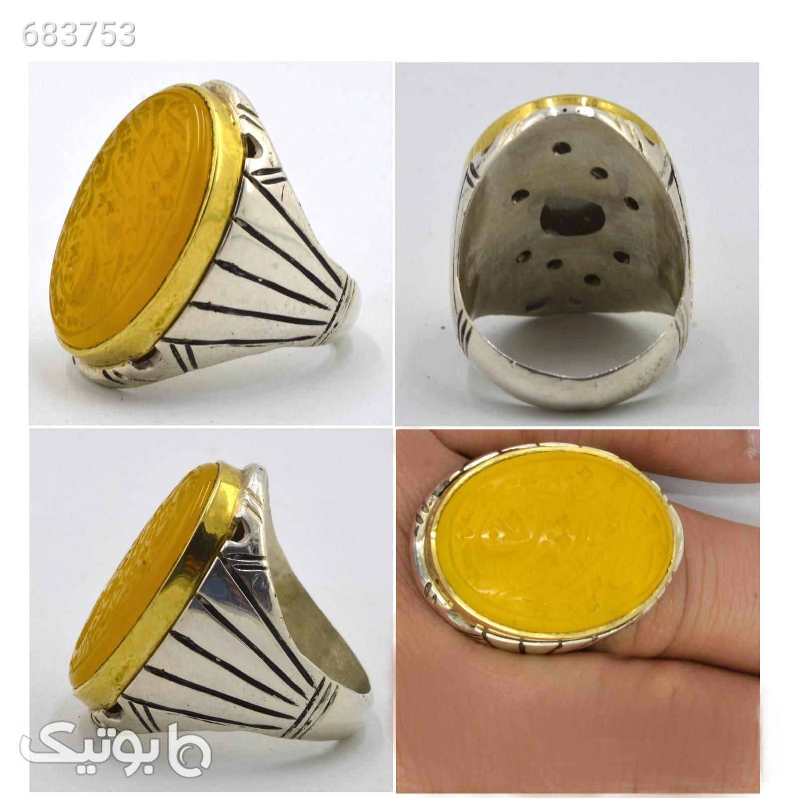 انگشتر نقره مردانه کد a10s زرد انگشتر