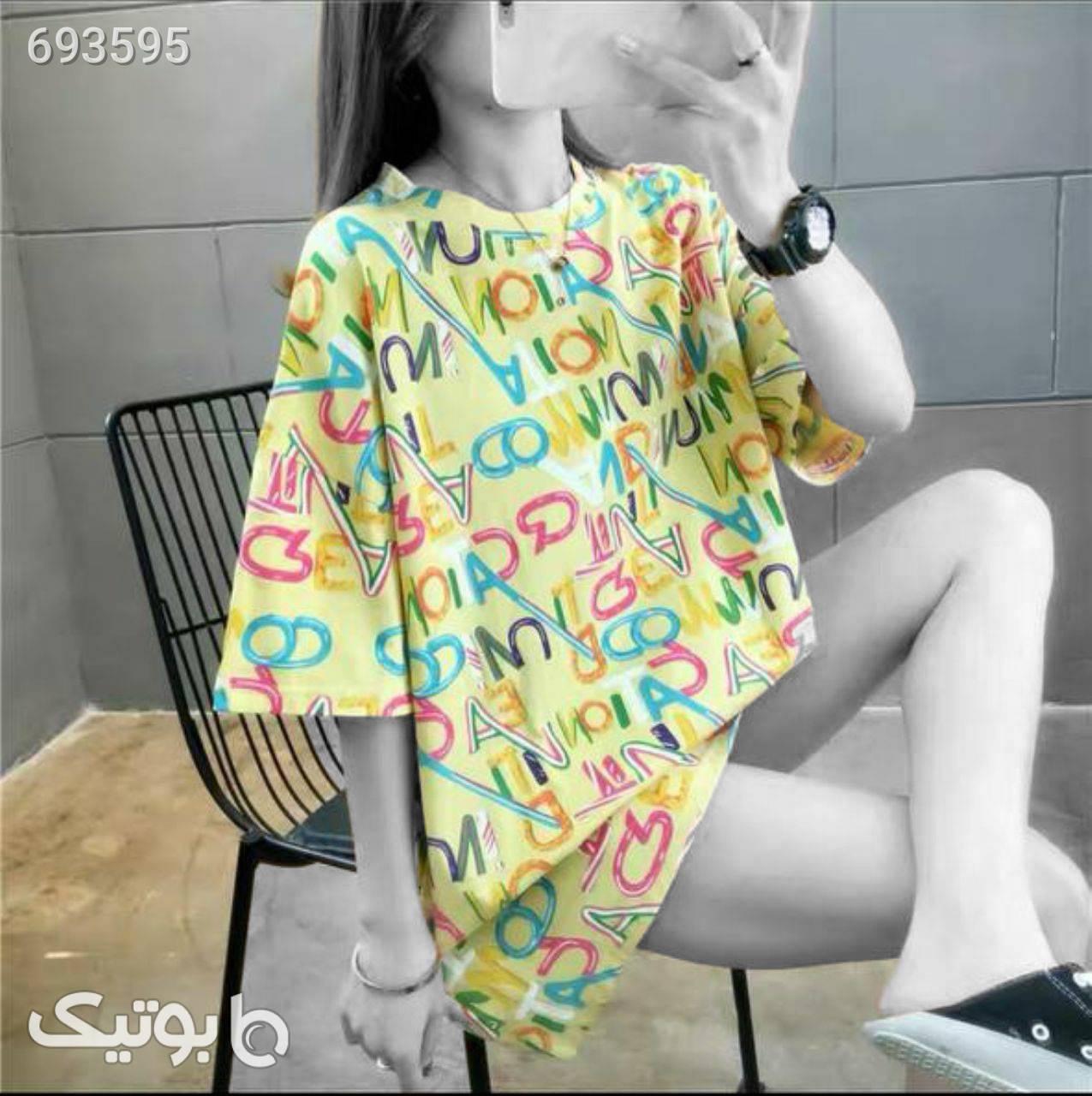 تی شرت لانگ  زرد بلوز زنانه