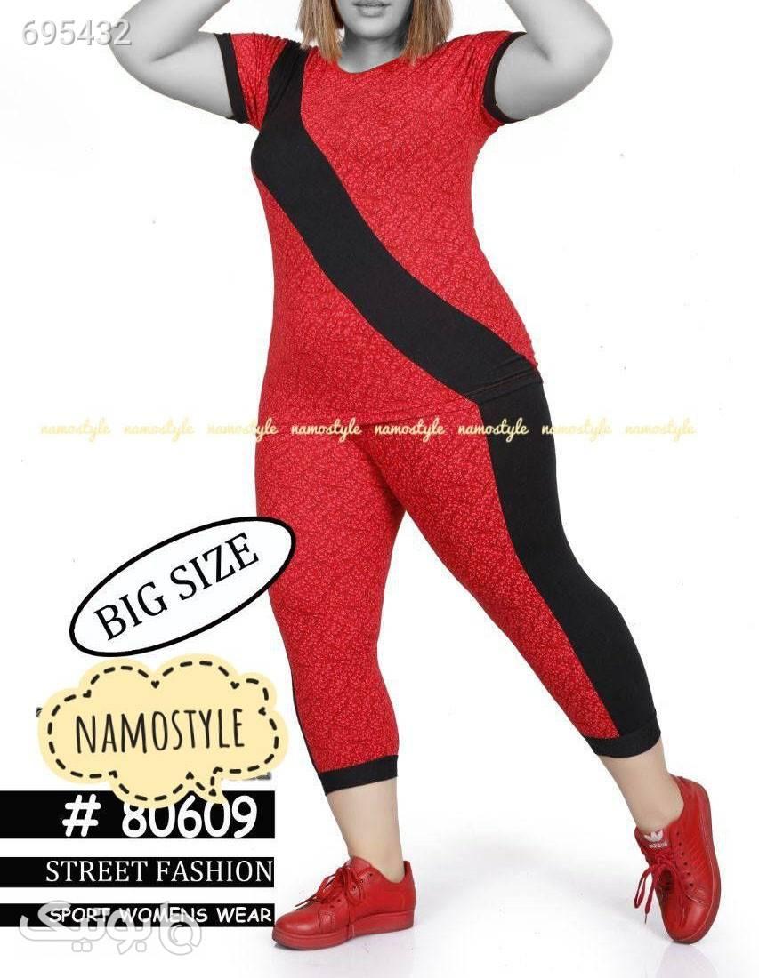 ست تیشرت و شلوار بیگ سایز قرمز تی شرت زنانه