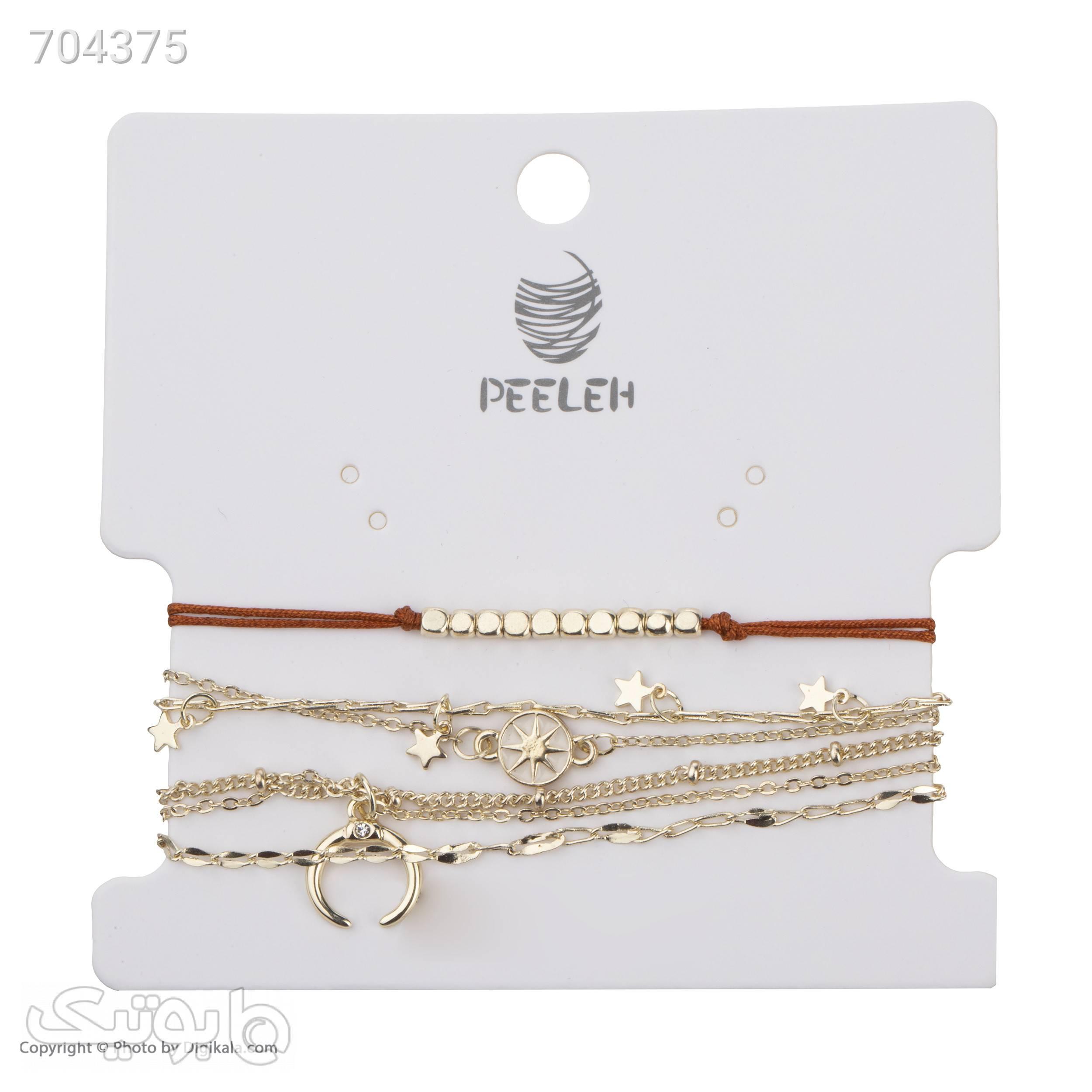 دستبند زنانه پیله کد 3مجموعه 5 عددی نقره ای دستبند و پابند