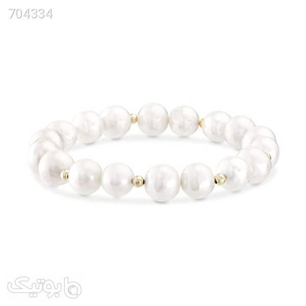 دستبند زنانه چرم ذاریات مدل مروارید کد 125 سایز L سفید دستبند و پابند