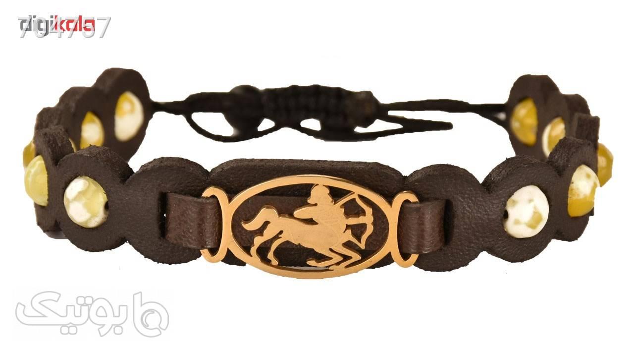 دستبند زنانه کهن چرم طرح تولد آذر مدل BR28494 طلایی دستبند و پابند