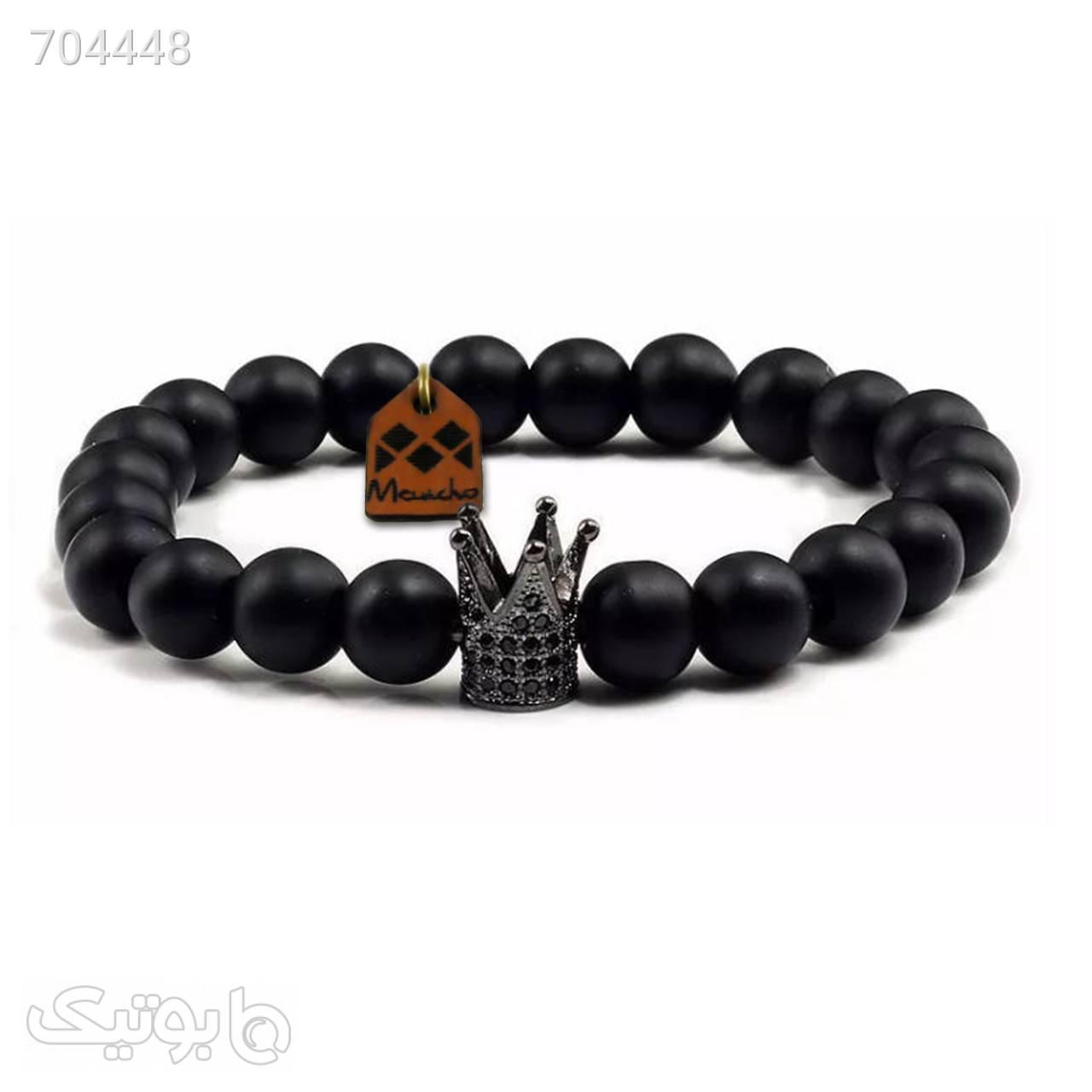 دستبند مهره ای مانچو طرح تاج مدل bf691n مشکی دستبند و پابند