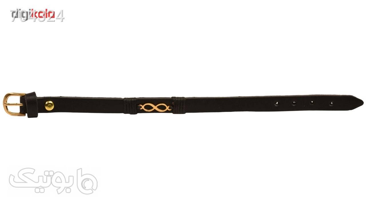 دستبند چرمی کهن چرم طرح بی نهایت مدل BR21 مشکی دستبند و پابند