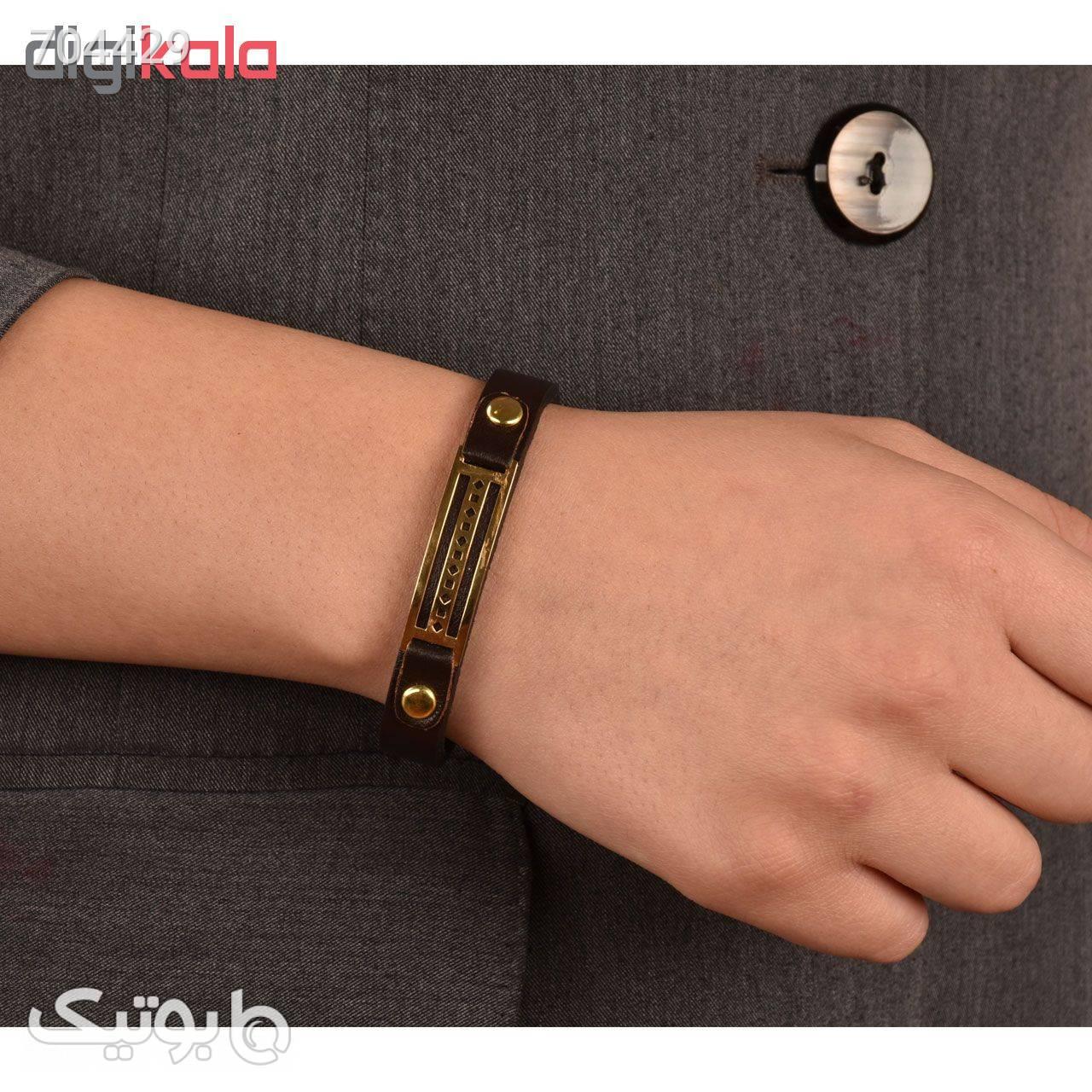 دستبند چرمی کهن چرم طرح مفهومی مدل BR1515 مشکی دستبند و پابند