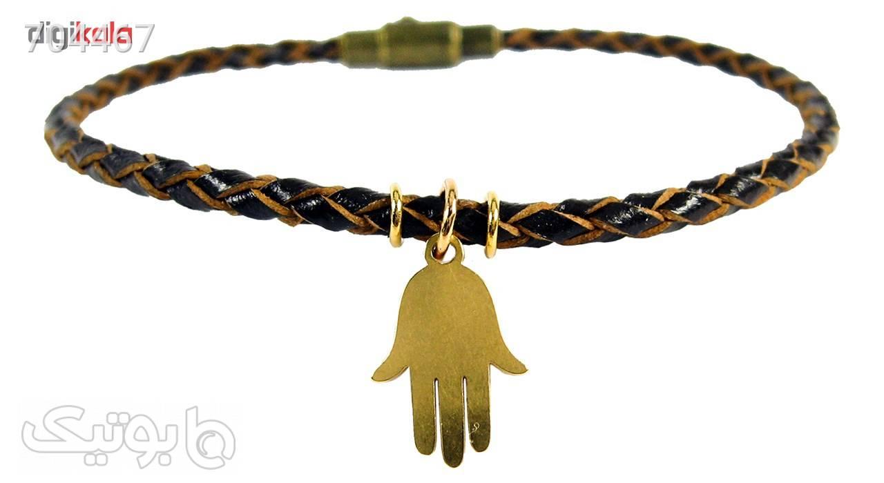دستبند چرم طبیعی حامد گالری طرح بافت آویز دار مدل bl4031 طلایی دستبند و پابند