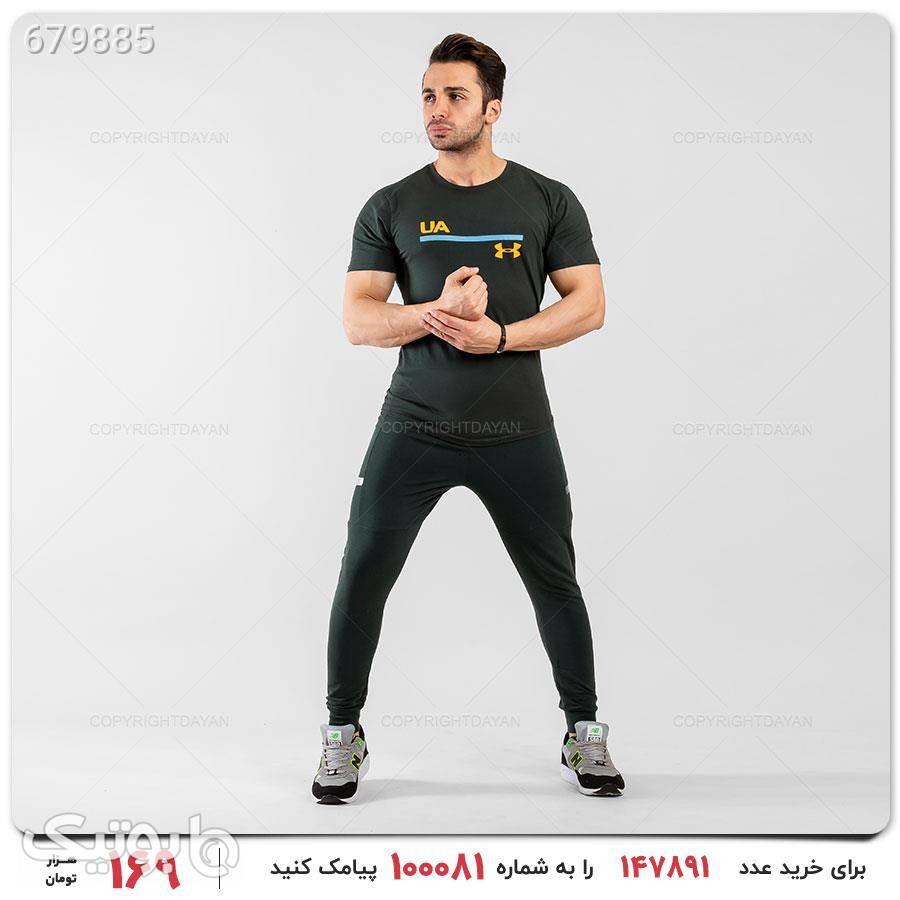 ست تیشرت و شلوار مردانه مدل 12835 مشکی ست ورزشی مردانه