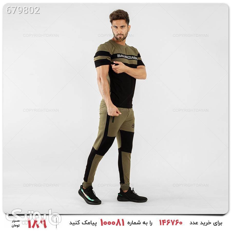 ست تیشرت و شلوار مردانه مدل 14519 سبز ست ورزشی مردانه