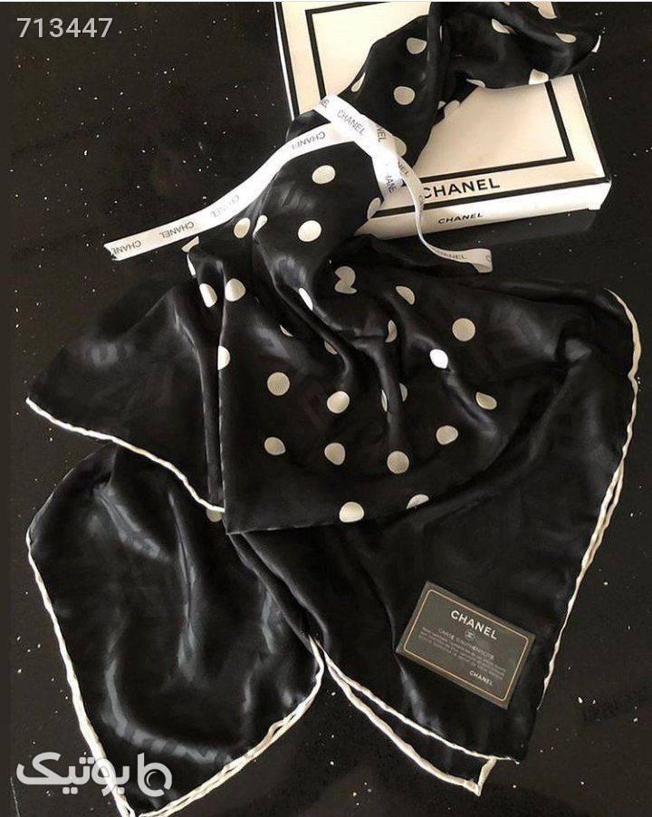 روسری ابریشم ژاکارد سفید مشکی  مشکی شال و روسری