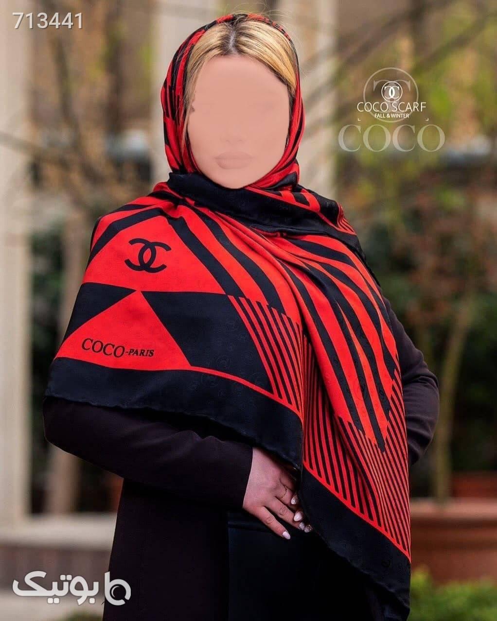 روسری ابریشم ژاکارد قرمز مشکی مشکی شال و روسری