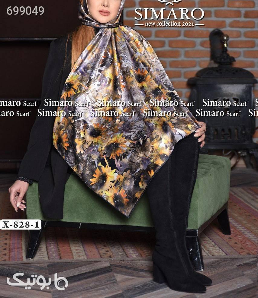 روسری ساتن ابریشم  قهوه ای شال و روسری
