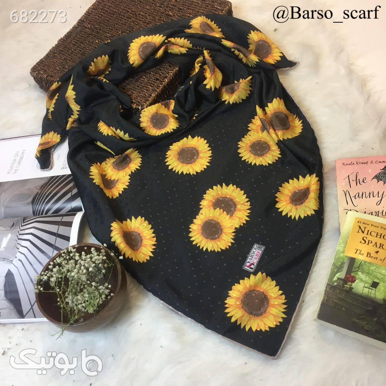روسری نخ طرح آفتابگردان  مشکی شال و روسری