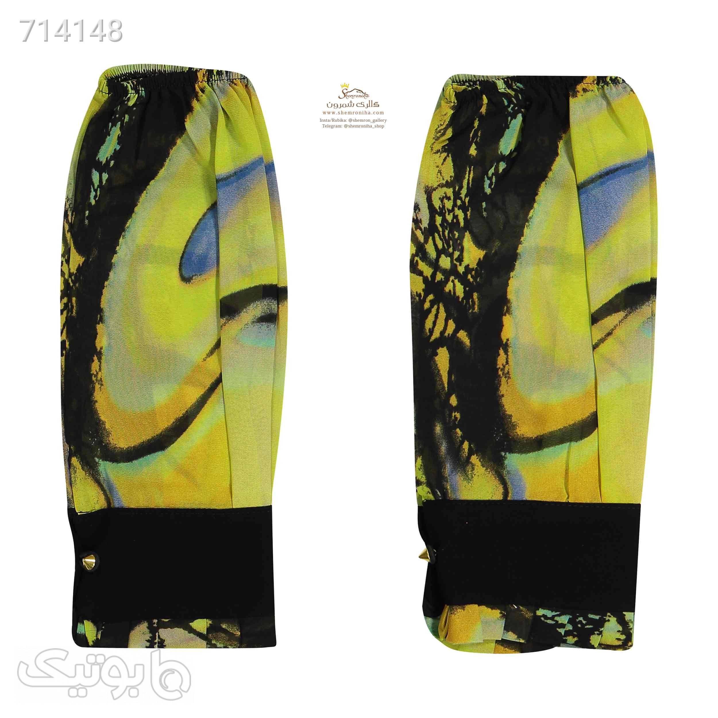 ست روسری، ساق دست و یقه مدرن SCA122R زرد شال و روسری