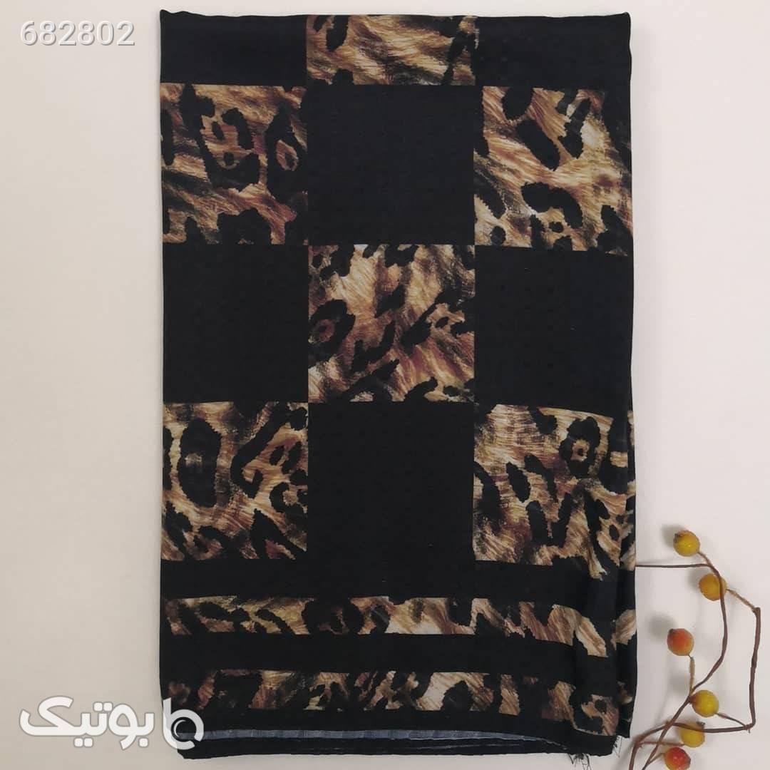 شال نخ پارچه نگینی پلنگی  مشکی شال و روسری