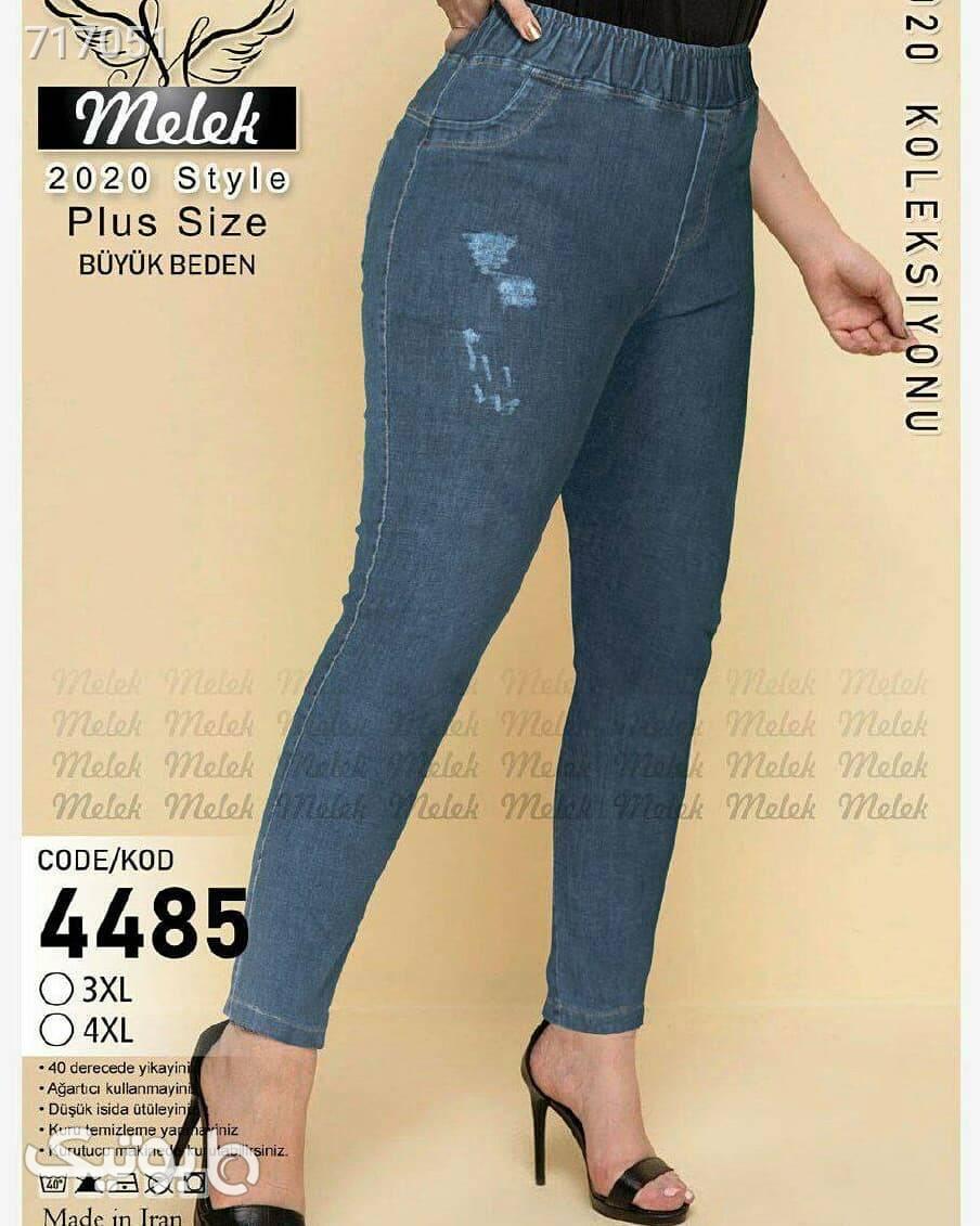 شلوار جین کمر کشی آبی شلوار جین زنانه