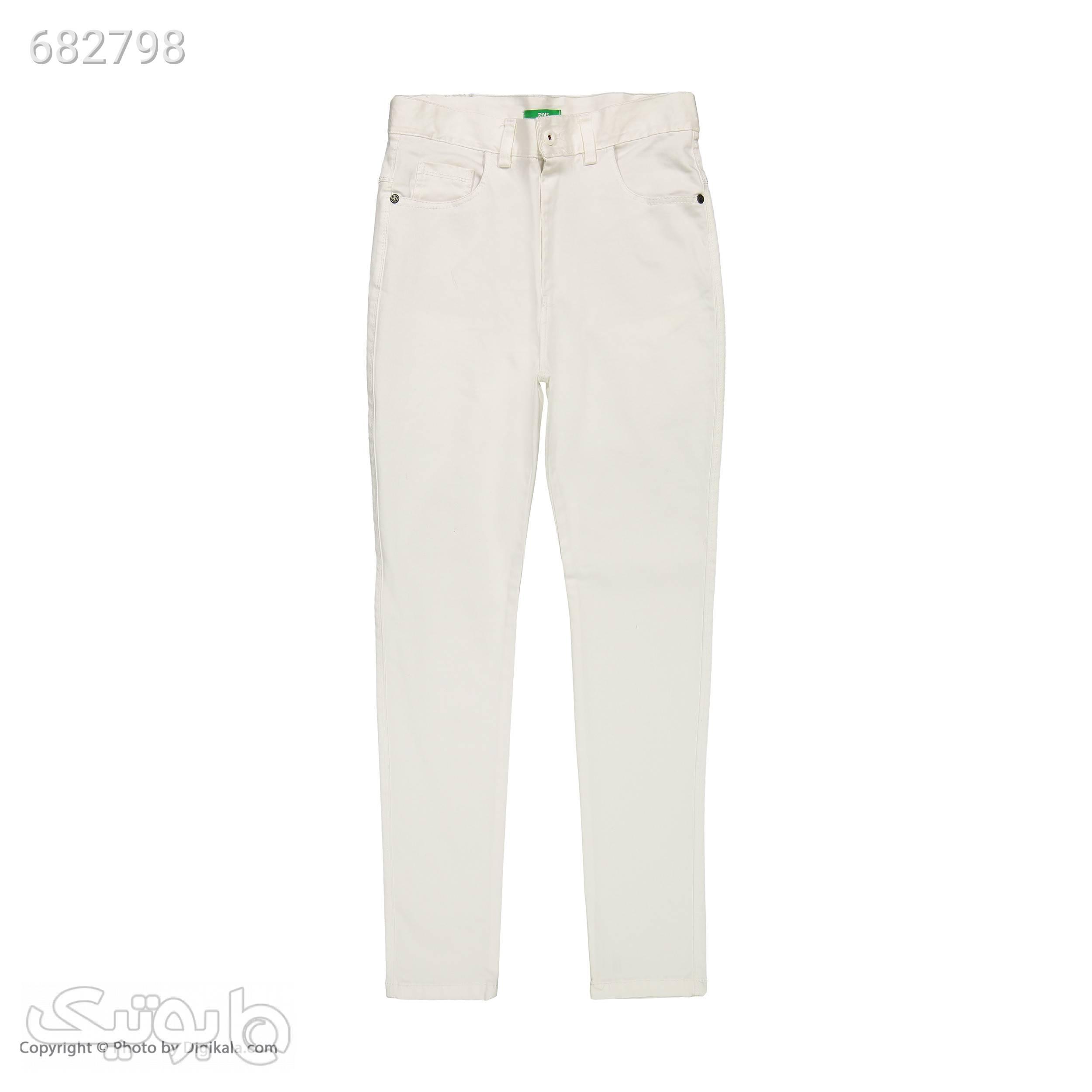 شلوار زنانه آر اِن اِس مدل 10411205 سفید شلوار پارچه ای و کتانی زنانه