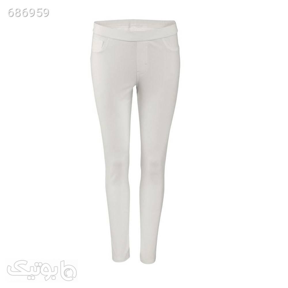 شلوار زنانه اسمارا کد ZJ66 سفید شلوار پارچه ای و کتانی زنانه